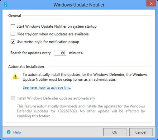 WindowsUpdateNotifier-settings